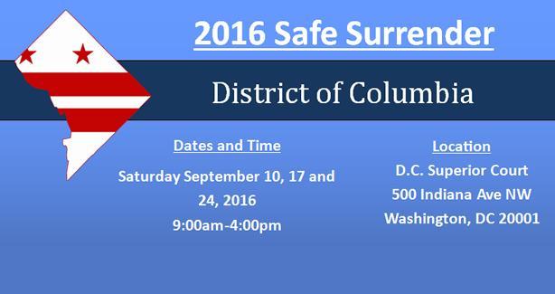 DC Safe Surrender 2016